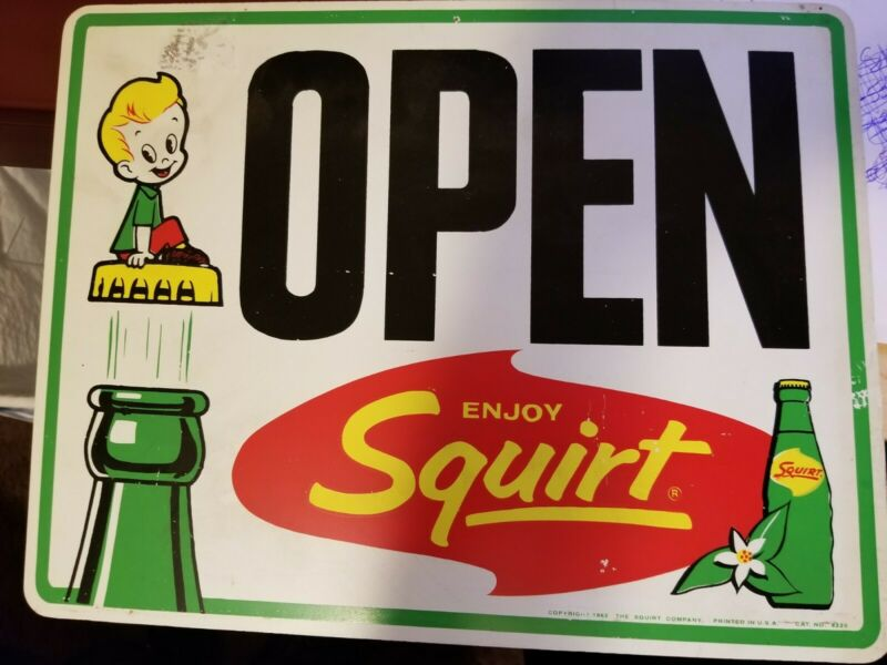 "VINTAGE SQUIRT OPEN CLOSED SIGN WITH BOTTLE AND SQUIRT BOY CR 1962 VGC 13""X 10"""
