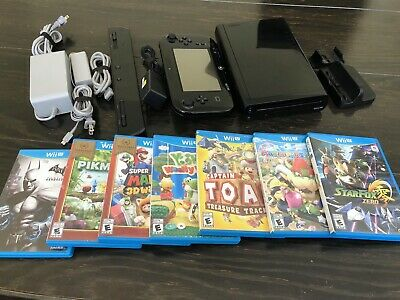Nintendo Wii U Black 32gb Console - With Gamepad And 7 Games!