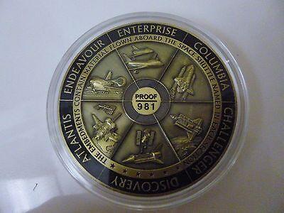 NASA Space Program Medallion Flown Metal Shuttle Visible Embedments Proof / 981