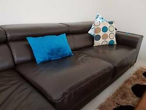 Brown leather 3 seater sofa Clarkson Wanneroo Area Preview