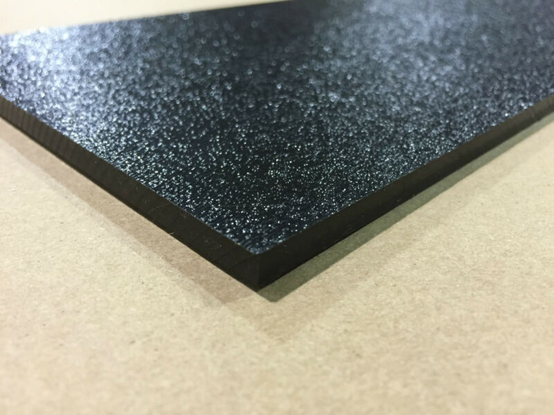 """ABS Black Plastic 1/8"""" x 12"""" x 12"""" .125"""" textured 1 side stereo sheet"""