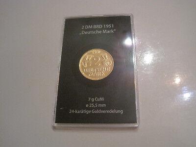 2 DM BRD 1951 Deutsche Mark mit Goldveredelung  #1376