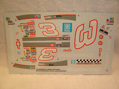 #3 Dale Earnhardt Sr 1990 GOODWRENCH Chevy LUMINA Monogram Decal Set