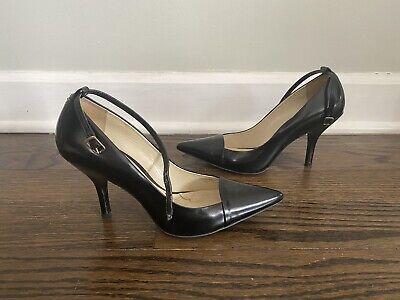 Zara Black Leather Heels Pumps Shoes Size 6