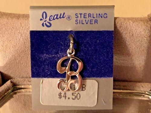 "NEW VTG Sterling Silver Beau Initial ""B"" Charm Pendant 3/4"" On original card"