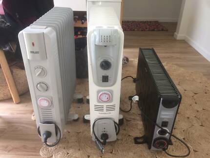 Three electric and oil heaters
