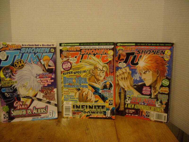 Shonen- Jump NARUTO 2007 Vol 5, Issues 3, 10, 11 Set of 3, USED