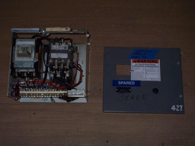 WESTINGHOUSE CUTLER HAMMER TYPE W SIZE 1 STARTER 7 AMP BREAKER MCC MCCB BUCKET