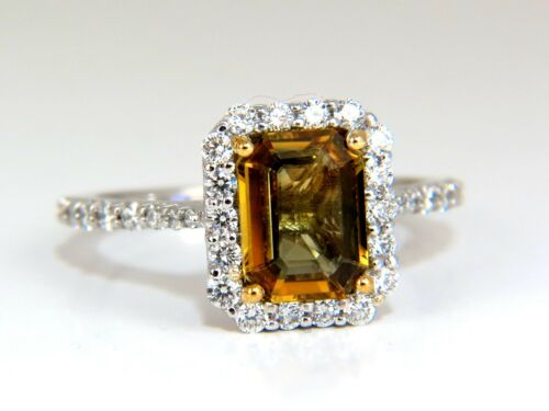 2.60ct Natural Vivid Golden Sapphire Diamonds Ring 14kt Halo Classic