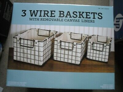 3 Pc Wire Nesting Basket Set w Removable Canvas Liners, Storage Bath Bed -