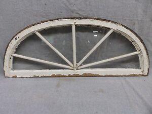 Antique Arched Half Round Dome Sunburst Window Shabby Vtg Chic 14X34 29-17P