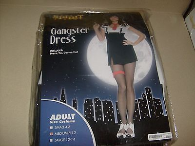 Womens Gangster Miss Mobster Adult Sexy Halloween Costume Dress SZ MED - Woman Gangster Halloween Costumes