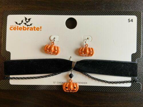 Halloween Choker Necklace & Earrings Jack O Lantern Girls Jewelry