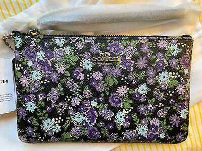 BNWT Coach Small Wristlet Pouch Bag with Posey Cluster Print