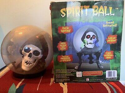 Gemmy grim reaper skeleton spirit crystal ball animated sound halloween prop
