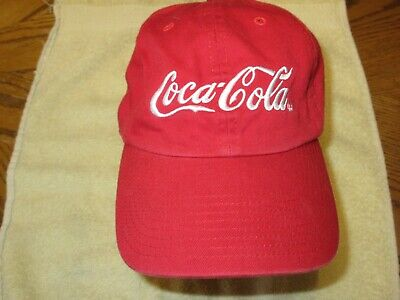 Coca Cola Cap Red Embroidered Hat nice adjustable strap no sweet marks