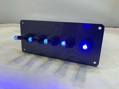 Led Toggle Switches - Blue - W Carbon Fiber Panel
