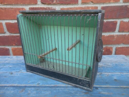 Good Antique American Wood And wire Birdcage In Original Paint