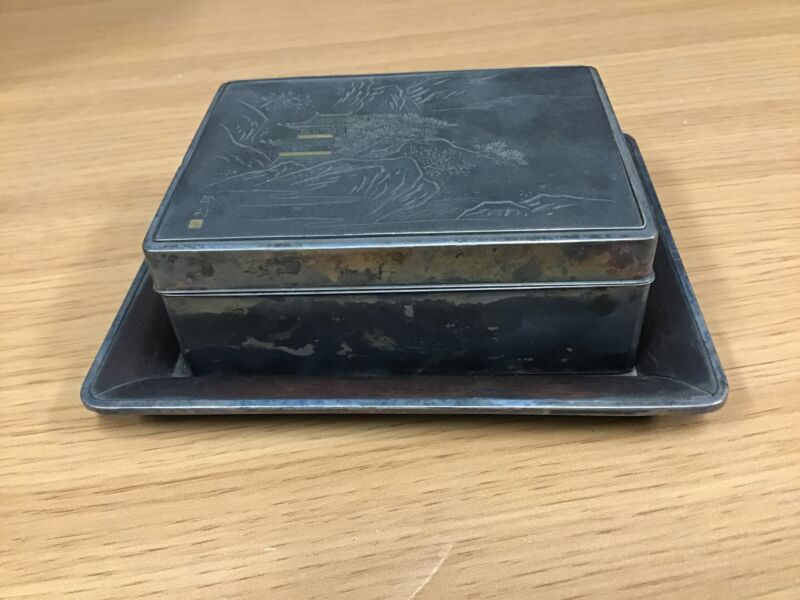 Y0222 BOX Silver signed box japanese antique japan vintage