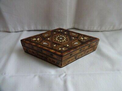 Antique Wooden Mosaic Marquetry Trinket Box c. 1939 Diamond Shape 3.5 x 9 x 8 cm