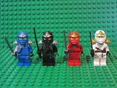 Set of 4 LEGO NINJAGO ZX Minifigures Jay Kai Cole Zane Black Red Ninjas Lot N2