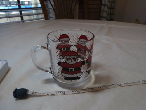 Luminarc France Vintage Christmas GLASS MUG RARE Santa Claus cup clear HO HO HO