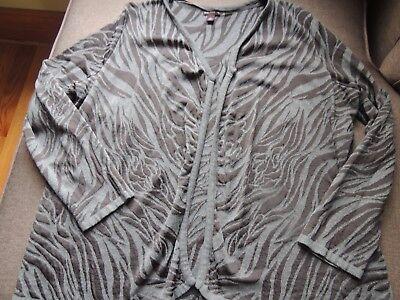 Dana Buchanan Sweater Cardigan XL LS Black Gray Animal Print SEXY EUC