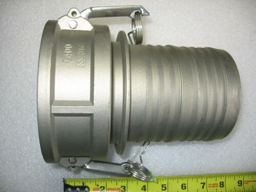 "4"" Hose Barb X 4"" Female Camlock Cam & Groove Adapter 316 Stainless Steel 400-C"