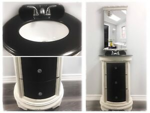 Brand New Hand Painted Granite Top Bathroom Vanity & Mirror!