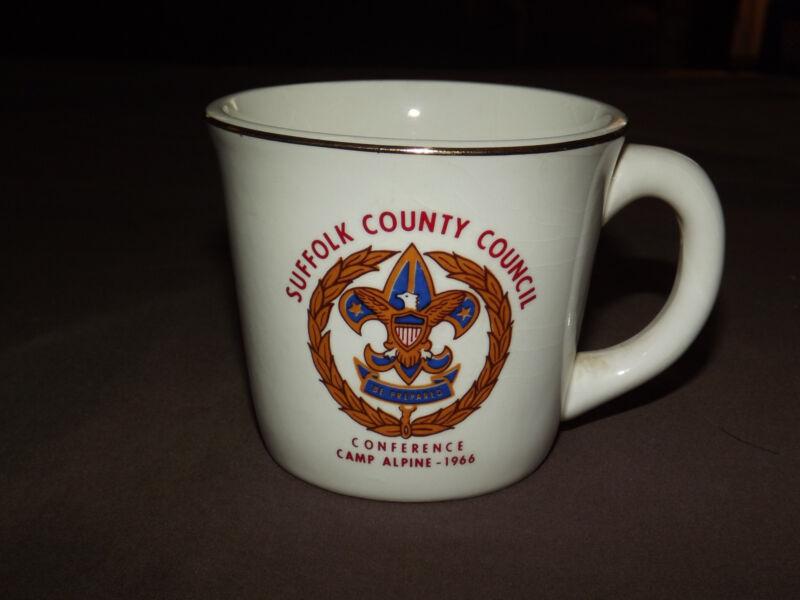 VINTAGE BSA BOY SCOUTS COFFEE MUG  1966 CAMP ALPINE CONF SUFFOLK COUNTY COUNCIL