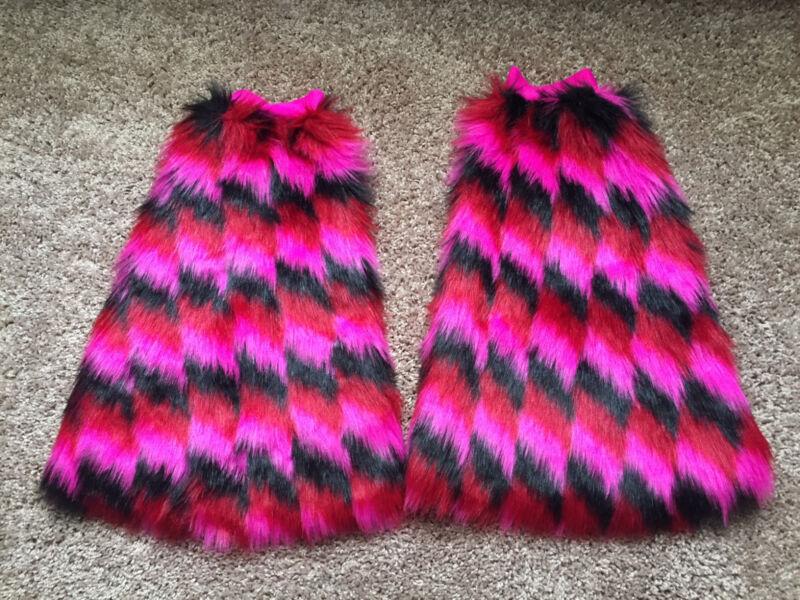 Festival Leg Fluffies in Pink, Red, Black - Leg Wraps for Raves - Leg Warmers
