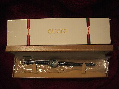 GUCCI Authentic Vintage Ladies 2000L Black Gold Quartz Watch Black Leather Band
