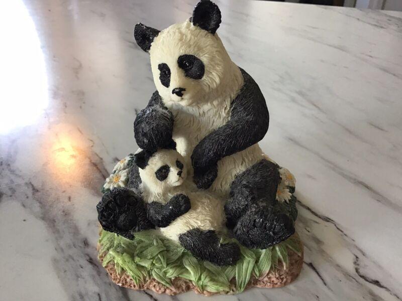 "Panda Bear And Cub Figurine Resin Unknown Maker4"" Tall"