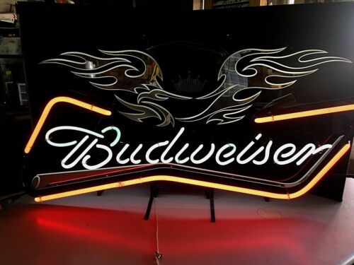 Budweiser Tribal Eagle Motorcycle Harley Davidson Style Neon Beer Sign Light
