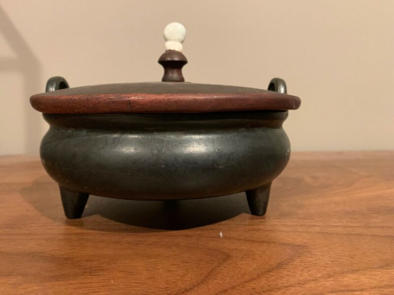Chinese Antique Bronze Censer With Wooden Lid And Jade Top Incense Burner Signed