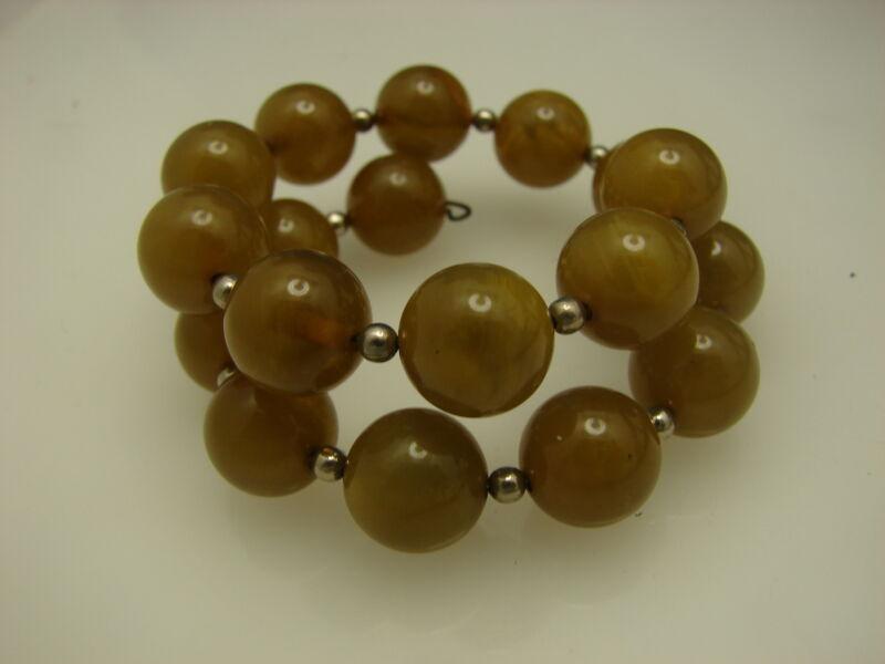Vintage Transparent Green Bakelite Bead Wire Wrap Bracelet
