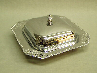 "Vintage Butter Dish Farber Bros NY Krome Kraft lid glass insert 7"" sq. silver"