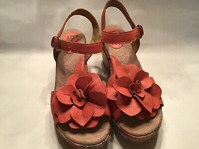 BOC salmon leather flower wedge ankle strap sandals women's size 8 medium Ankle Strap Leather Wedges