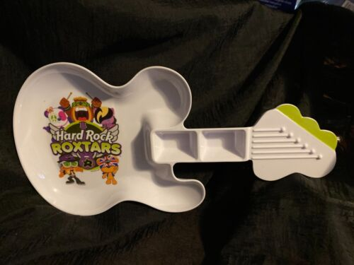 Hard Rock Cafe Children Toddlers Plate, Guitar-Shaped Roxtars, 2 Dipping Spots