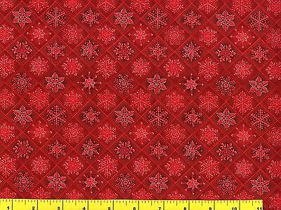 Metallic Silver Accented Red Snowflakes on Red Quilting Fabric by Yard  #3015 - Red Snowflakes