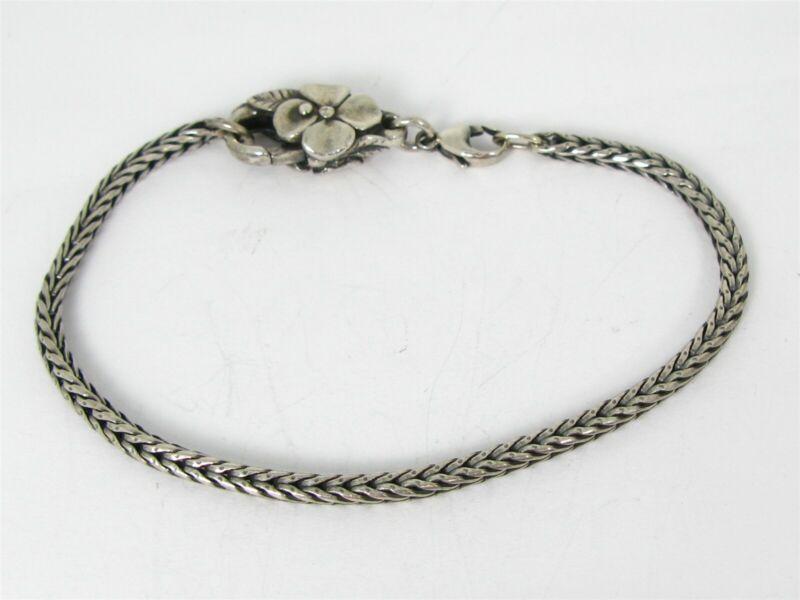 Estate Sterling Silver Wheat Chain LAA Trollbeads Flower Clasp Bracelet 14g B38