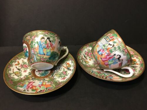 Two Pairs Old Chinese Rose Medallion Teacups and plates, early 19th Century