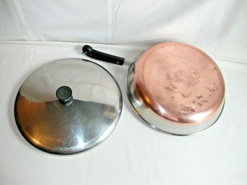 """Revere Ware 12"""" Skillet w/ Lid Copper Clad Pre-1968 Double Ring Logo SITS FLAT"""