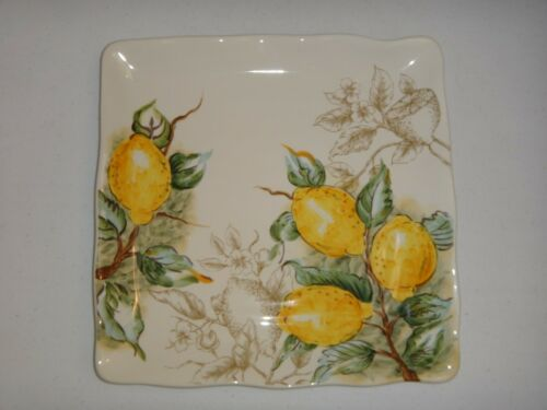"""MAXCERA Yellow Lemon Handcrafted Ceramic Pottery Square Plate Size 11"""" x 11"""""""