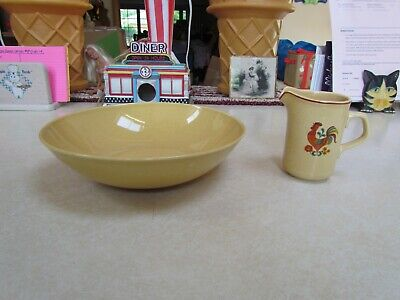 Vintage Sears Harmony House Honey Hen Rooster Creamer and Bowl ~ -