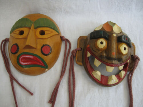 "2 Japanese Wooden Kabuki Masks Hand Carved 5.5""x4.5"" Psycho Clown & Side-Mouth"