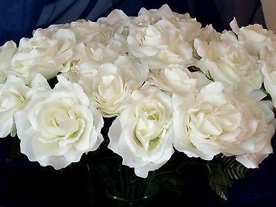 10 x Rosen weiß/creme Kunstblumen -Seidenblumen