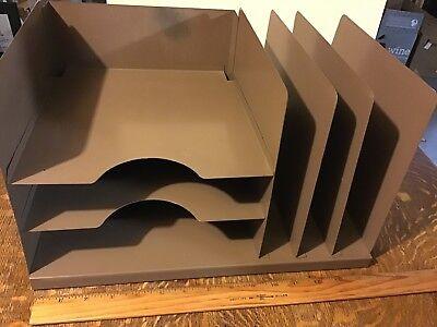 Vintage Industrial 3 Tier Metal Desk Organizer Mail Sorter Lit-ning Usa