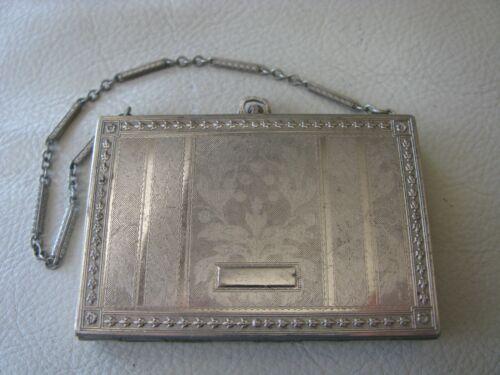 Antique Silver T Engraved Card Case Bar Chain LIPSTICK Dance Compact