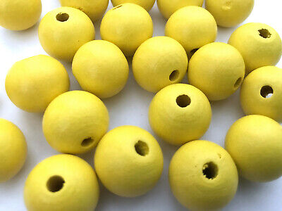 50 pcs Large Yellow Wood Beads Round 20mm Bead Jewelry Making Wooden Macrame Y5